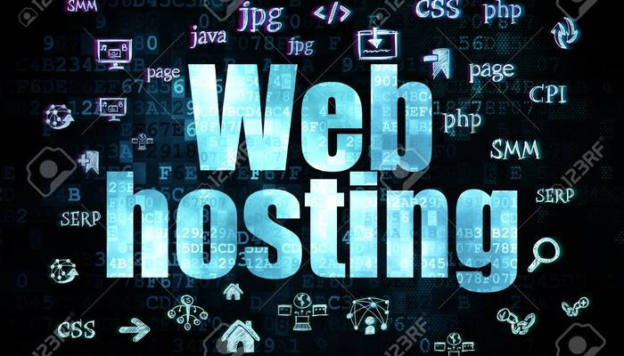 39255670 web design concept pixelated blue text web hosting on digital background with hand drawn site develo