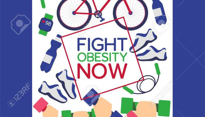 124118794 fight obesity now concept poster vector illustration healthy life with active exercises equipment fo